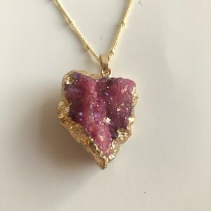 Pink & Gold Drusy Geode Necklace